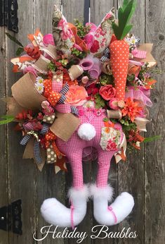 A personal favorite from my Etsy shop https://www.etsy.com/listing/580125572/easter-bunny-wreath-easter-wreath-happy