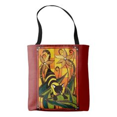 Kitty Bee Whimsical Cat Art Tote Bag