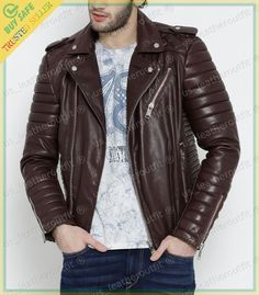 8eeb6289e24 New Men s Genuine Lambskin Leather Jacket Brown Slim fit Biker Motorcycle  jacket