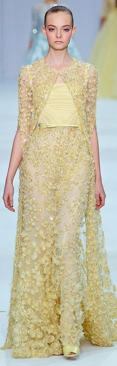 Cool Evening dresses pale yellow evening gown by  Elie Saab Couture Spring 2012... Check more at http://24myshop.tk/my-desires/evening-dresses-pale-yellow-evening-gown-by-elie-saab-couture-spring-2012/