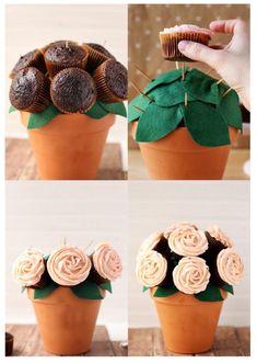 DIY Cupcake Bouquet With Homemade Strawberry Buttercream