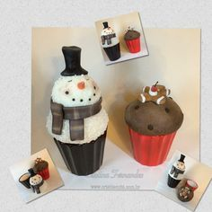 Cup Cakes Ginger e Snow....potes para guloseimas ...porcelana fria....www.crisbiscuitt.com.br