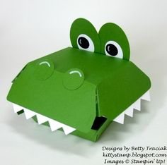 Kitty Stamp: Hamburger Box Critters Alligator Punches: Eyes: Extra Large Oval Small Oval and Circle Nostrils: Circle Teeth: Square Diy Arts And Crafts, Crafts For Kids, Paper Crafts, Hamburger Box, Petite Purses, Fry Box, Creation Crafts, Treat Holder, Valentine Box