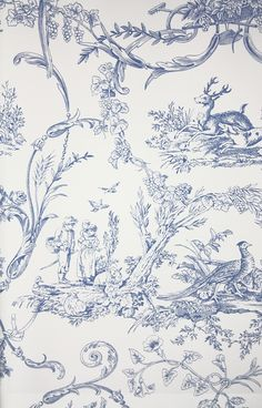 Paysannerie Toile Wallpaper A scenic toile wallpaper with farm workers, pheasants, stags and dogs amongst swirling foliage in blue on white....