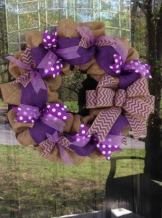 Purple Burlap Wreath with Chevron Ribbon - Spring, Summer - Polka Dot and Chevron www.etsy.com/shop/simplyblessedgift