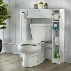 Shop Simple Living Space Saver - Overstock - 6649964 - Over the toilet - grey Small Bathroom Storage, Bathroom Shelves, Bathroom Styling, Bathroom Organization, Storage Spaces, Bathroom Ideas, Small Bathrooms, Small Bathroom Vanities, Toilet Storage