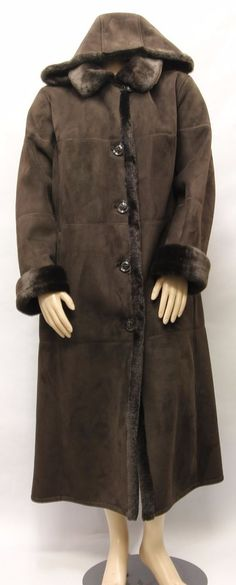 $89.99 GALLERY WOMEN Brown Faux Suede n Fur Lining Long Coat w Hood Size 2X 860058 #Gallery #BasicCoat