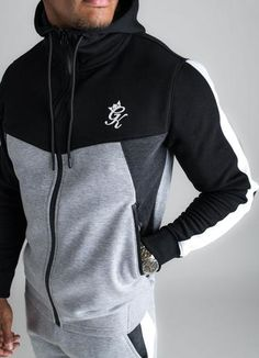 GK Koen Tracksuit Top - Grey Marl Black New Mens GK collection Style koen Tracksuit Matching joggers Cotton fleece fabric Black and Grey Marl colour Drawstring hood GK logo on chest machine wash Premium Streetwear brand ZIP pockets and closure Sport Outfits, Casual Outfits, Men Casual, Fashion Outfits, Track Suit Men, Tracksuit Tops, Hoodie Outfit, Mens Activewear, Mens Clothing Styles
