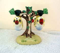 Vintage Pottery Red Japan Birds Hanging in a Tree Salt & Pepper Shakers