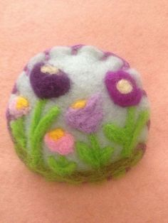 Needle felted brooch, handmade unique gift -Spring Flowers  | eBay