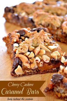 Chewy Cashew Caramel Bars ~T~ These are wonderful. Chocolate, caramel, oats, crushed pretzels, sweetened condensed milk. Chewy, salty and full of caramel in every bite.