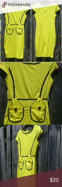 "WoW Dress! Bold and bright yellow with black trim. Nylon material, slightly see through would need a slip most likely. Never worn. New, without tags.  38"" Dresses Midi"