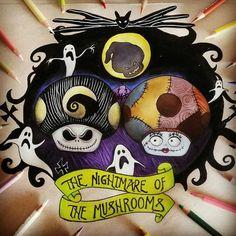 Sally, Jack & Oogie Boogie [all as mushrooms] (As Video Games by Nadzer_Art @Instagram) #TheNightmareBeforeChristmas #Mario