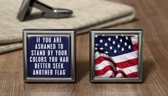 Personalized Red White And Blue USA Flag Cuff Links American USA Cufflink Gift American USA Wedding Cufflinks Patriotic American Gifts