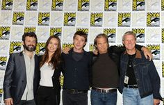"""Jeff Bridges and Bruce Boxleitner Photos Photos - (L-R) Actors Michael Sheen, Olivia Wilde, Garrett Hedlund, Jeff Bridges and Bruce Boxleitner pose at the """"Tron: Legacy"""" panel during Comic-Con 2010 at San Diego Convention Center on July 22, 2010 in San Diego, California. - """"Tron: Legacy"""" Panel - Comic-Con 2010"""