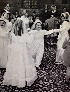 "photo by David Seymour ""Chim"" first communion celebration Communion Shoes, Holy Communion Dresses, First Holy Communion, Wedding Attire, Wedding Dresses, Childhood Days, Vintage School, Political Events, Catholic Art"