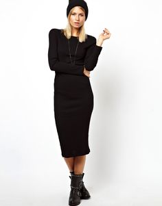Turmec » black and white long sleeve midi bodycon dress