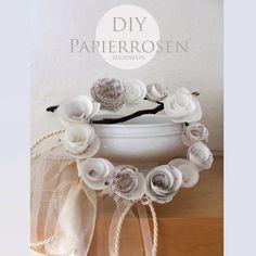 seidenfeins Dekoblog: gerolltes Licht, sonntagsweiße Papierrosen * DIY * rolled light, Sunday-white paper roses