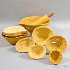 Group of Yellowware Yellow Bowls, Food Mold, Kitchen Dining, Dining Room, Rolling Pin, Vintage Kitchen, Old And New, Jelly Moulds, Im Not Perfect