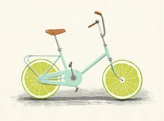 bike, cycle, penny farthing, wheels, bicycle, fruit, lime