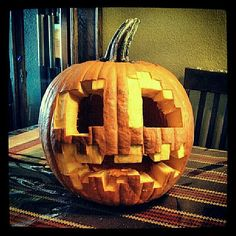 Minecraft Halloween Pumpkin Carving Pattern