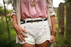cute high waisted white shorts, pink blouse and beige cardigan. can't forget the bow belt!