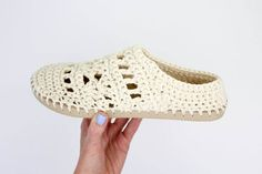 """These lacy, cotton """"Coachella Boots"""" will complete your boho-inspired outfits all spring and summer long! Crochet them with flip flop soles!"""