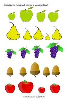 Játék a gyümölcsökkel, letöltető gyümölcsös feladatlapok .