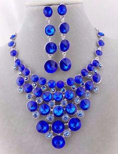 Silver Blue Rhinestone Bib Necklace Earring Set Fashion Jewelry NEW Hot #Unbranded