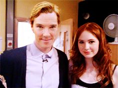 """The ultimate ginge."" Benedict Cumberbatch and Karen Gillan. Karen Gillan, Nerd Love, Amy Pond, Martin Freeman, David Tennant, Sherlock Bbc, Dr Who, Celebs, Celebrities"