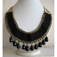 Black Beaded Bohemian Necklace / Statement Necklace / Bib Necklace - Beaded Jewelry Simple concept, but cool!