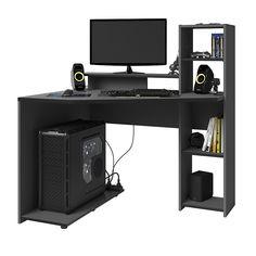 Perfect compact home office desk, Parisot corner workstation Cheap Gaming Desk, Corner Gaming Desk, Corner Workstation, Large Shelves, Desk Shelves, Storage Shelves, Shelving, Office Set, Home Office Desks
