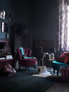 Introducing Modern Victorian and How To Do It In Your Home - Emily Henderson pin + insta // @ f o r t a n d f i e l d ♥ modern Victorian, dark paint w/ dark floral curtains, room divider Modern Victorian Decor, Victorian Living Room, Victorian Interiors, Victorian Bedroom Decor, Victorian Curtains, Victorian Kitchen, Interior Design Victorian, Victorian Room Divider, Gothic Living Rooms