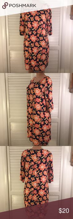 J. Jill Multi Color Floral Lose Dress Navy blue floral dress in excellent condition can be casual or dressy J. Jill Dresses Midi