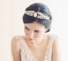 Items similar to Sample sale Vintage inspired cameo leaf bridal tiara crown - Heirloom no. 2031 on Etsy Wedding Hair Fascinator, Fascinator Hairstyles, Crown Hairstyles, Pretty Hairstyles, Wedding Hairstyles, Hair Fascinators, Vintage Wedding Hair, Vintage Bridal, Bridal Tiara