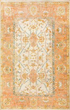 View this absolutely breathtaking and decorative large size antique Turkish Oushak rug #50666 from the Nazmiyal Collection in New York City. 9 ft 6 in x 15 ft 3 in coral
