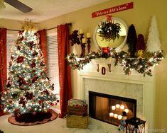 Burgandy and gold Christmas tree and mantel