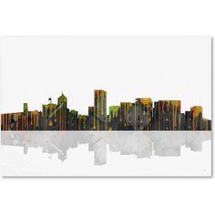 Marlene Watson Portland Oregon Skyline Canvas Art, Size: 12 x 19, Multicolor