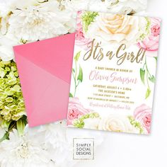 Pink Floral Baby Shower Invitation - Floral Rose Peony Blush Faux Gold Foil Boho Hydrangea Watercolor It's a Girl Printable Party Invite