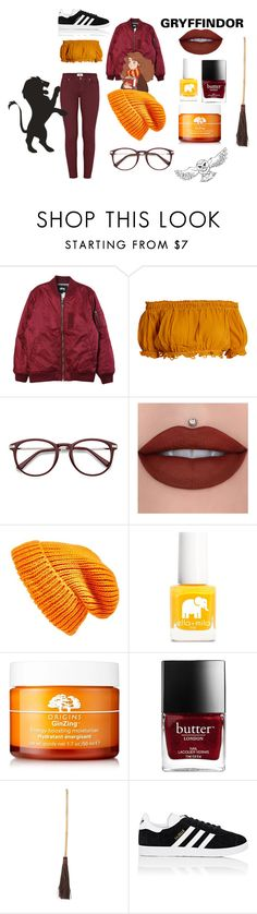 """""""Gryffindor Outfit"""" by annathepoptart ❤ liked on Polyvore featuring Stussy, Apiece Apart, Topshop, Ella+Mila, Origins, adidas, harrypotter and Gryffindor"""