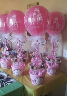 Beautifully done baby shower center pieces