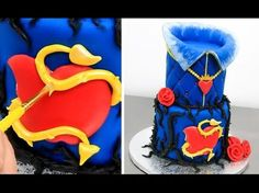 Hi! Today I bring you a Disney Descendants Evie inspired cake for a princess themed party. A two layered vanilla sponge cake frosted with italian meringue bu...