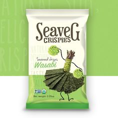 """""""Seaweed"""" is getting popular. pls make a good design for our seaweed products! Product name: Seaveg ChipsTarget audience: All ages, all countries. Chip Packaging, Packaging Snack, Biscuits Packaging, Spices Packaging, Organic Packaging, Food Packaging Design, Product Packaging, Packaging Inspiration, Veggie Chips"""