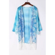 SHARE & Get it FREE | Stylish Collarless 3/4 Sleeve Fringe Design Chiffon Women's Kimono BlouseFor Fashion Lovers only:80,000+ Items·FREE SHIPPING Join Dresslily: Get YOUR $50 NOW!