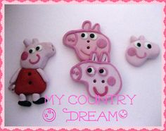 Handmade Buttons Peppa Pig set of 4 pcs by dragosafira on Etsy, $7.50