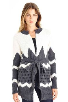 SussDesign alpaca blend cardigan with a beautiful intarsia pattern!
