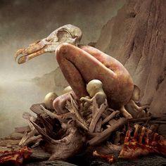 Artist: Igor Morsk, contemporary #surreal squatting man buzzard morbid anatomy painting. igor.morski.pl