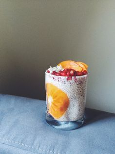 Hazelnut milk chia pudding and Fall fruits