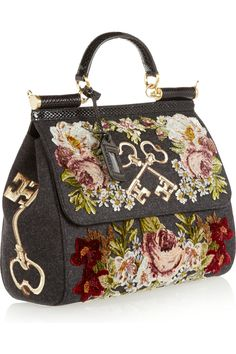 Dolce & Gabbana|Sicily ayers-trimmed appliquéd felted twill tote