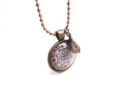 copper color necklace with Mandala caboch (S-601a) van Dome's Design op DaWanda.com